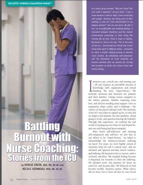 nurse coach battling burnout